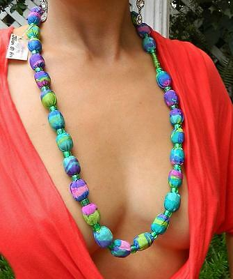 VINTAGE Bohemian Glamor 1980s Original Handcrafted by Joan of Art Retro Necklace