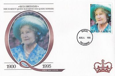 (94817) Gambia FDC Queen Mother 95th Geburtstag Banjul 1 August 1995