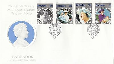 (94845) Barbades FDC Reine Mother Life & Horaires 7 Juin 1985 PAS D'INSERTION