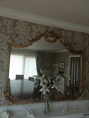 Antique Style French Rococo Gilt Gold Large Mirror 115cm by 135cm