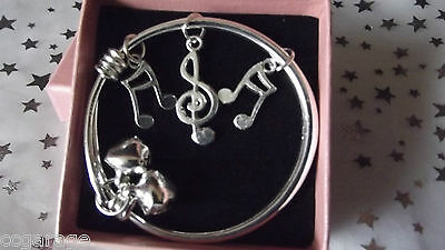 Childrens  Jewelry  Silver   Bracelet Bangle With Music Notes  [Gift Box ]