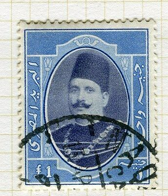 EGYPT;   1923-24 early King Fuad issue fine used £1. value