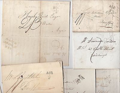 * 1823/39  6 PRE-STAMP LETTERS WITH ADDL½d MAIL TAX MARKINGS - SCOTLAND