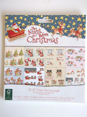 "The Night Before Christmas 8x8"" Glitter Decoupage Pad 24 sheet 8 desgins"