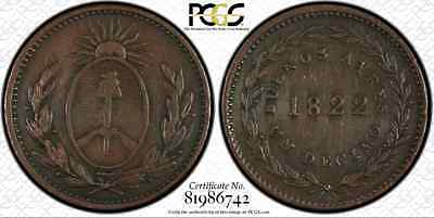 1822 Argentina (BUENOS AIRES) Decimo..PCGS VF Det. (Cleaned)..Sharp & Attractive