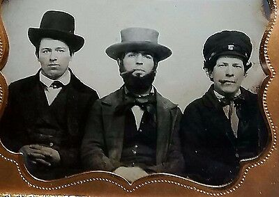 Three Men Portrait Sixth Plate Ambrotype In Case-Street Toughs / Ruffians Cigars