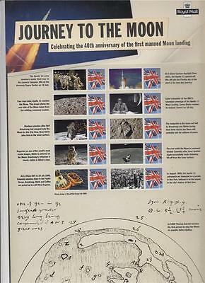 GB CS4 2009 Journey to the Moon Royal Mail Commemorative Smilers Sheet