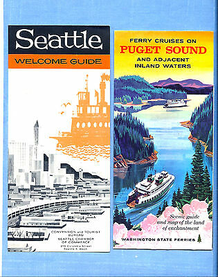 Vintage 1959 Seattle Welcome Guide & 1960 Ferry Cruises on Puget Sound