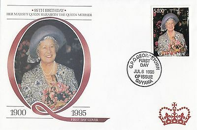 (95148) Guyana FDC Queen Mother 95th Birthday Georgetown 6 July 1995