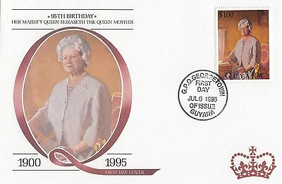 (95147) Guyana FDC Queen Mother 95th Birthday Georgetown 6 July 1995