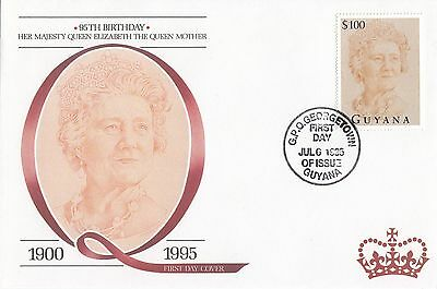 (95149) Guyana FDC Queen Mother 95th Birthday Georgetown 6 July 1995