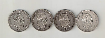 1871-1873-1874-1876 Kingdom of Italy 4 coins x 5 Lire Silver