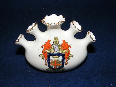 Vintage Crested China Bexhill On Sea Five 5 Necked Posy Vase