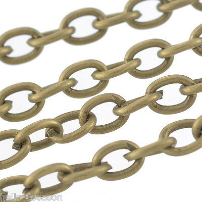 25M Bronze Tone Cable Chains Findings 3x4mm