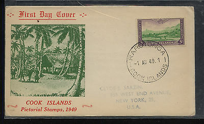 Cook  Island  nice cachet first day cover   1949         MS1007