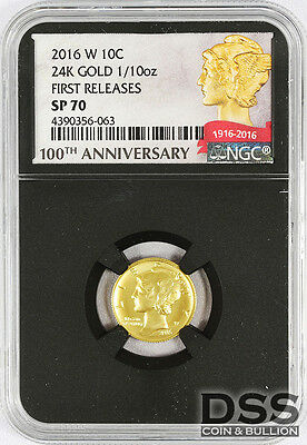2016 W NGC SP70 First Releases Gold 100th Anni. Mercury Dime .9999 Retro Case
