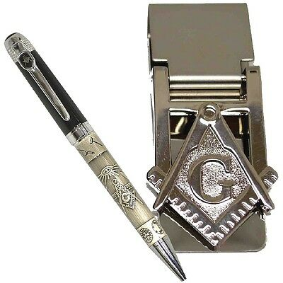 NEW Freemason Two-Toned Black And Pewter Ballpoint Pen And Masonic Money Clip