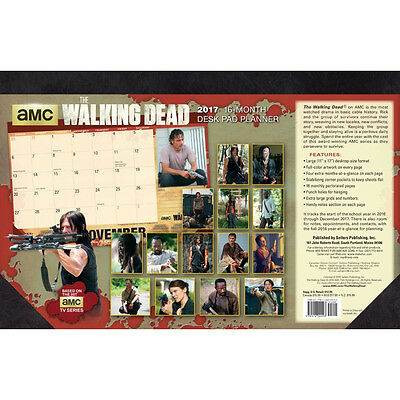 The Walking Dead 16 Month 2017 Desk Pad Monthly Planner Calendar, NEW UNUSED