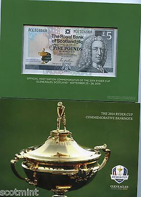 2014 Ryder Cup Limited Edition  Commemorative Royal Bank of Scotland £5  Note