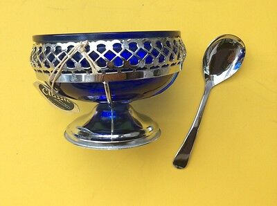 """Stainless Steel sugar bowl with blue glass inlay & spoon to match 4"""" diameter"""