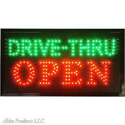 24x13 DRIVE-THRU Window Fast Food Open LED Restaurant Business Store Sign neon