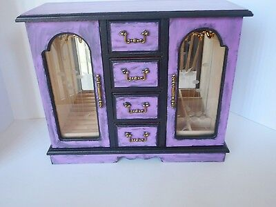 Hand painted signed purple wood jewelry box  crow/raven design on back gothic