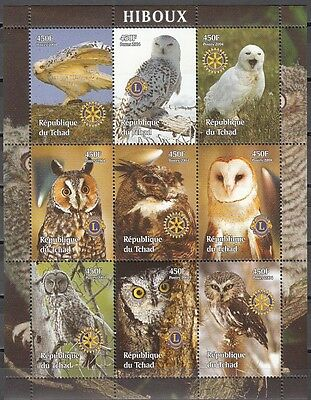 + Chad, 2004 Cinderella issue. Various Owls on a sheet of 9.