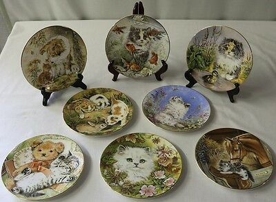 Hamilton Collection 1986 Kitten Encounters Set of 8 Royal Worcester Plates MINT