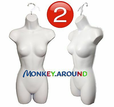 (SET 2) FEMALE MANNEQUINS. Clothing Display Dress Hip Hanger Woman Forms - WHITE