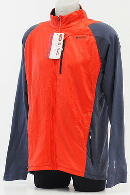New! Sugoi Alpha Hybrid Men's Running Jacket Size Large Red/Gray Fall/Winter