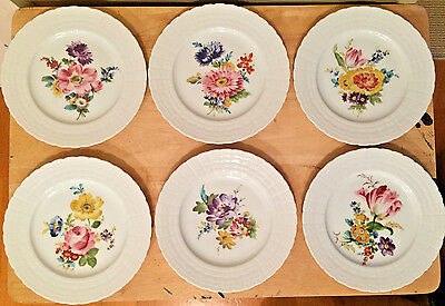 """Vintage Hutschenreuther Floral 8"""" Plates Set of Six Different Flowers Germany"""