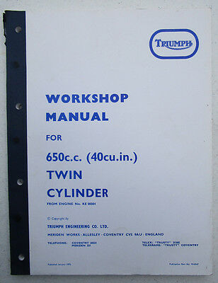TRIUMPH  MOTORCYCLE WORKSHOP MANUAL BOOK 650cc T120 BONNEVILLE TR6 TIGER TWINS