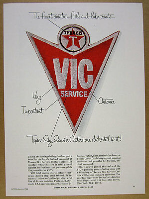 1966 Texaco Sky Service Centers VIC patch Aviation Fuels vintage print Ad
