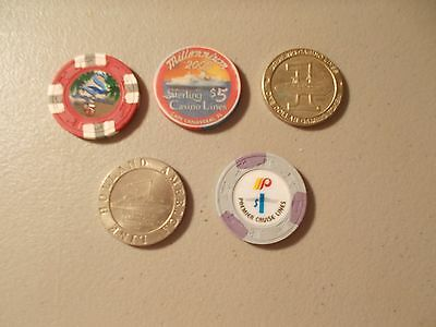 Lot Of 5 Casino Chips/tokens From Cruise Ships 3 Sterling ,1 Premier , 1 Holland