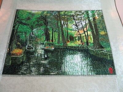 Beautiful hand embroidered Chinese jungle river scene textile art mat