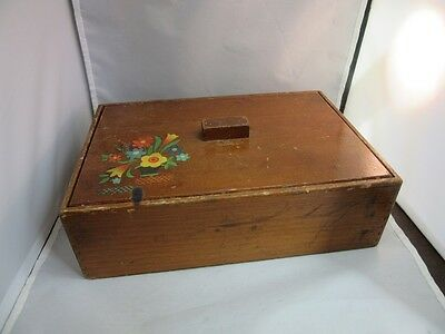 Vtg 1940's wood dovetail box. Sewing, crafts storage
