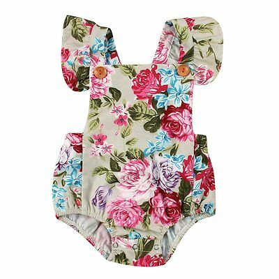 Newborn Infant Baby Kids Girls Bodysuit Flower Romper Jumpsuit Outfits Sunsuit