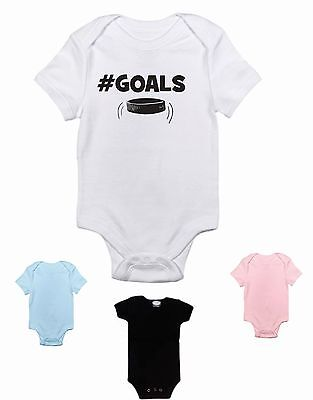 # hash tag goals hockey - funny baby bodysuit clothing - boy/girl size colors