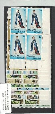 Pitcairn Island 1977 Definitives SG 174/84, Set of 13 in Blocks of Four, MNH