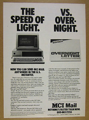 1984 MCI Mail commercial email service IBM PC photo vintage print Ad