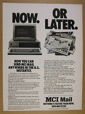 1984 MCI Mail commercial email service IBM PC computer photo vintage print Ad