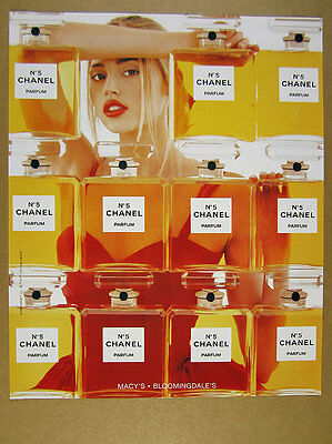 1998 Chanel No.5 Perfume wall of classic bottles photo vintage print Ad