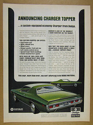 1971 Dodge Charger Topper green white car art vintage print Ad