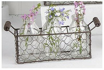 Rusty CHICKEN WIRE Basket 3 Vintage Reproduction Milk Bottles Primitive Country