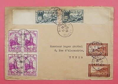 1942 Morocco Multi Franked Cover Rabat To Tunisia