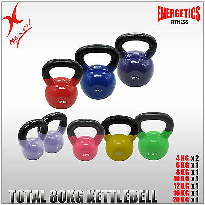 4x2 + 6 + 8 + 10 + 12 + 16 + 20KG - TOTAL 80KG IRON VINYL KETTLEBELL WEIGHT