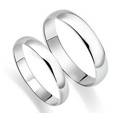 18K White Gold Smooth Ring Unisex 925 Sterling Silver Couple Wedding Band 4MM
