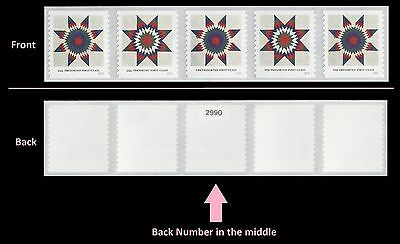 US 5098-5099 Star Quilts Presorted First-Class coli strip 5 back number MNH 2016