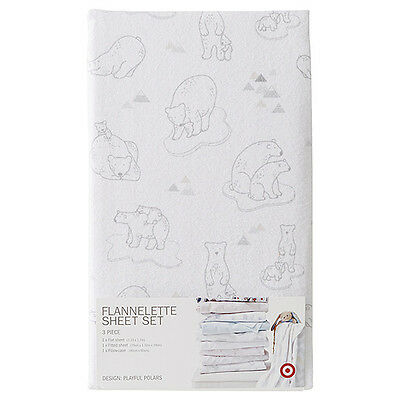 Target Playful Polars Grey And White Polar Bears Flannelette Cot Sheet Set New