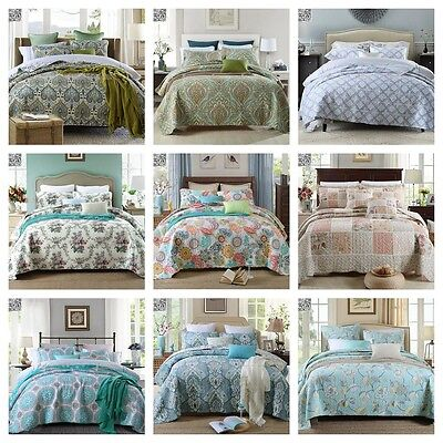 Floral Cotton New Quilt Bedspread Coverlet Set Queen Bed Throw Rug 230cm Width